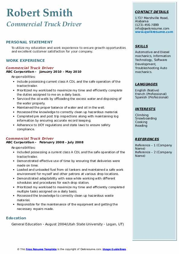 Commercial Truck Driver Resume Samples | QwikResume
