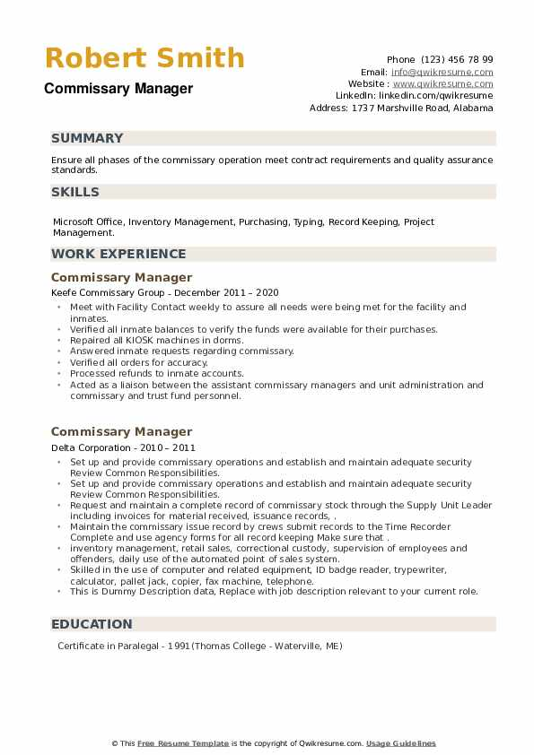 Commissary Manager Resume example