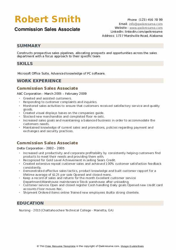 Commission Sales Associate Resume example