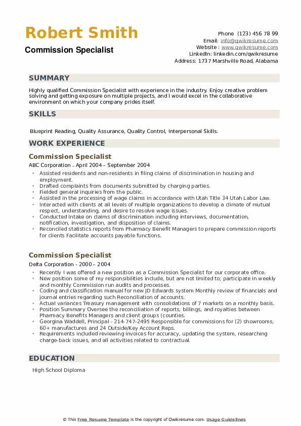 Commission Specialist Resume example