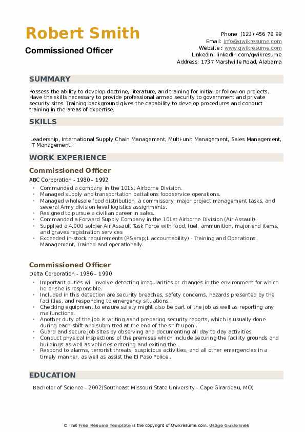 Commissioned Officer Resume example