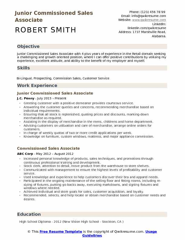 Junior Commissioned Sales Associate Resume Model
