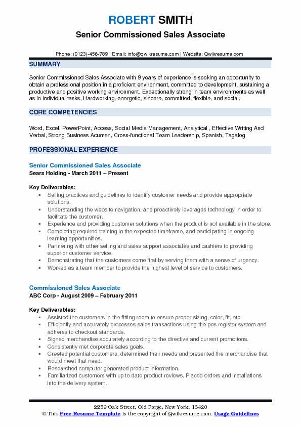 Senior Commissioned Sales Associate Resume Example