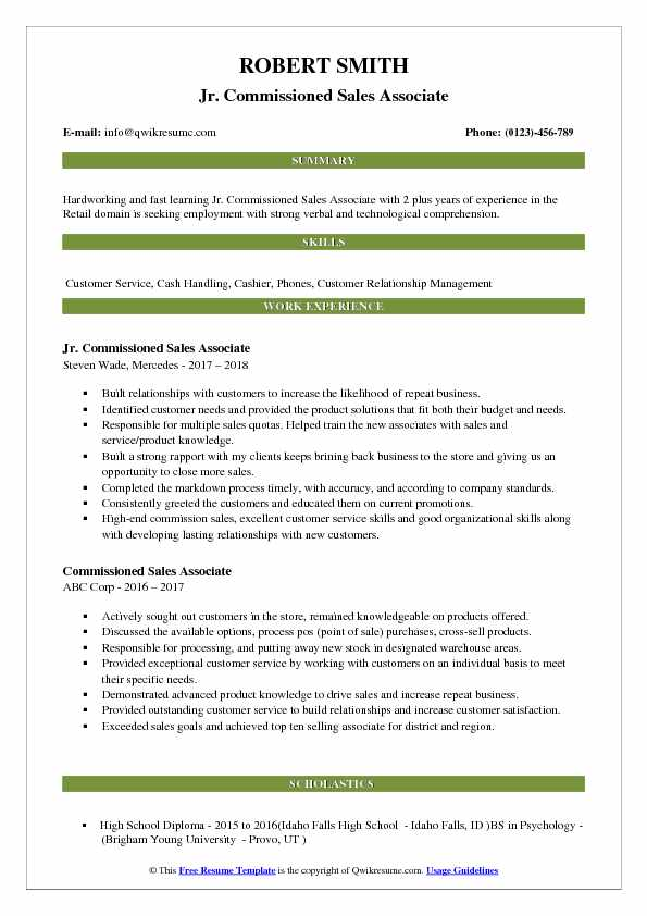 Jr. Commissioned Sales Associate Resume Template