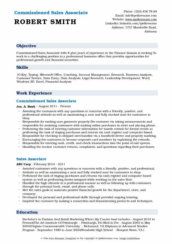 Commissioned Sales Associate Resume Model