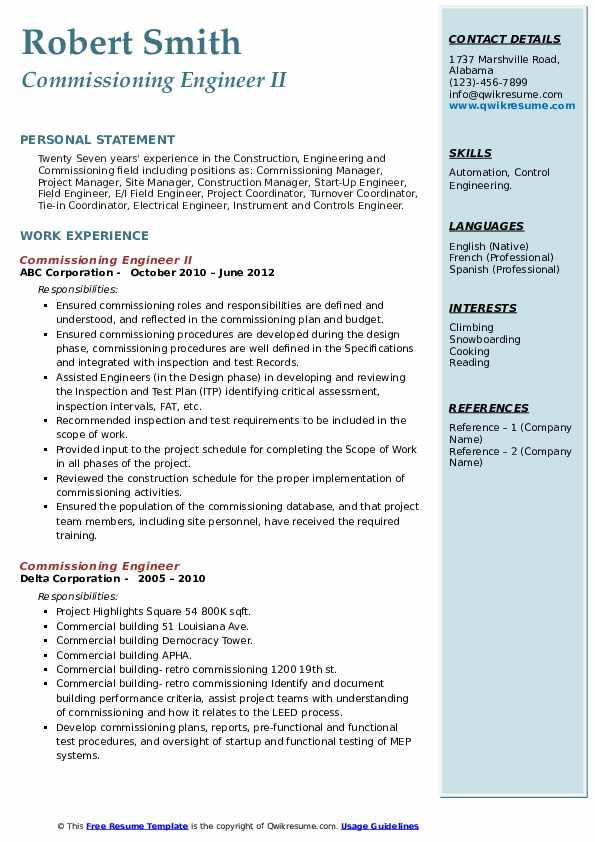 commissioning engineer resume samples