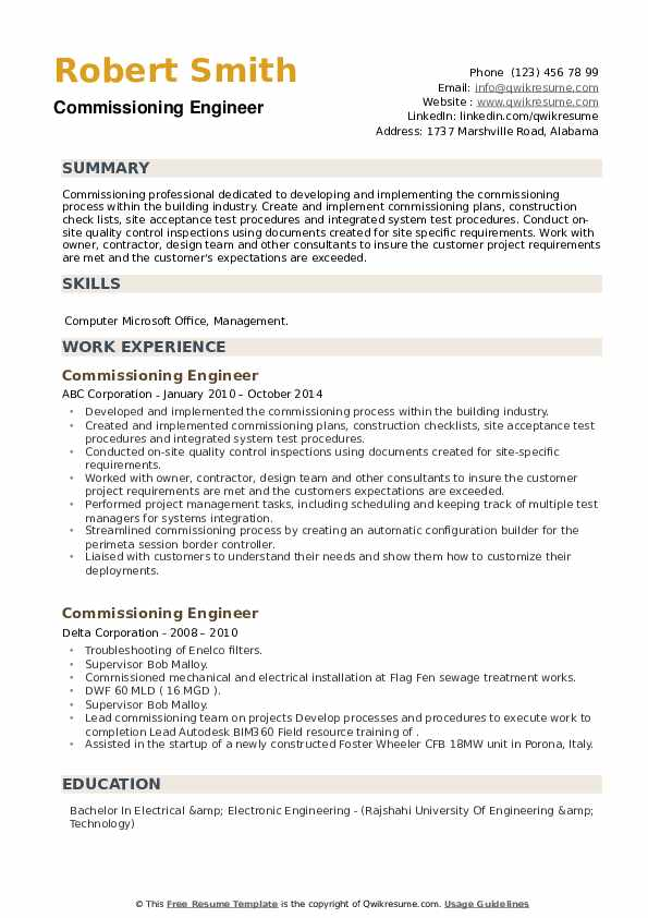 Commissioning Engineer Resume example