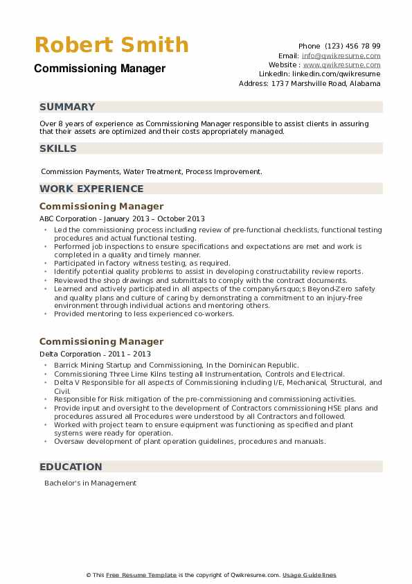 Commissioning Manager Resume example
