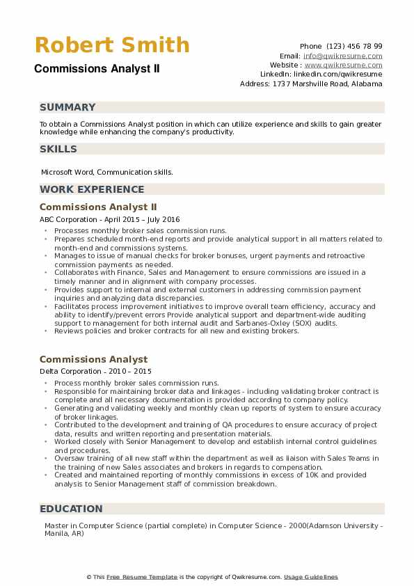 Commissions Analyst Resume example