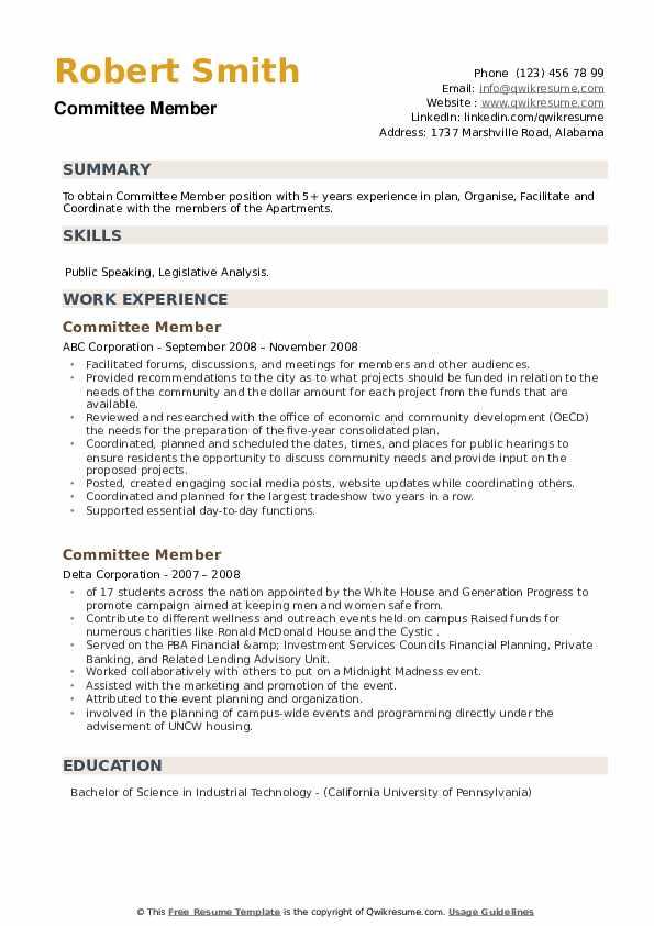 Committee Member Resume example
