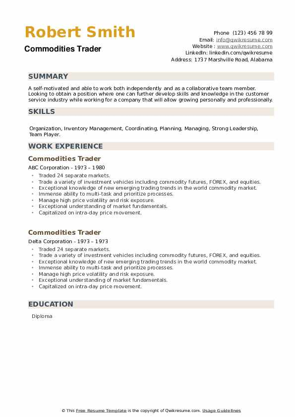 Commodities Trader Resume example