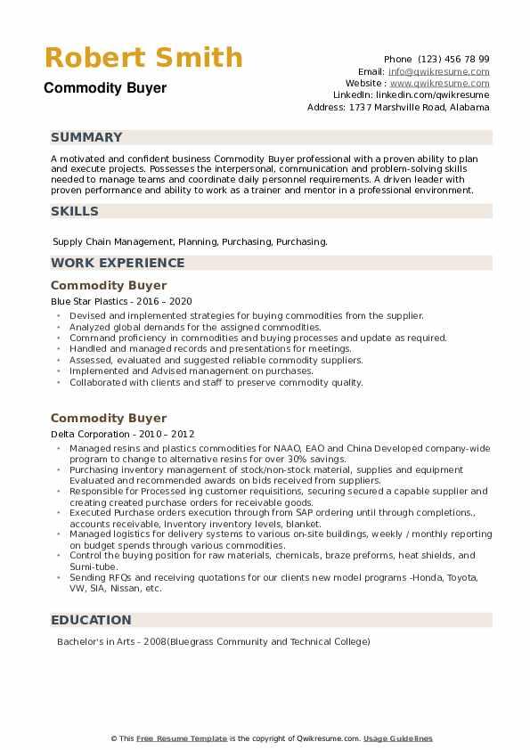 Commodity Buyer Resume example