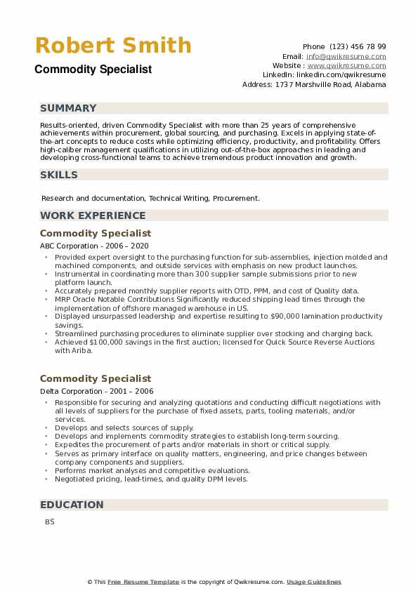 Commodity Specialist Resume example