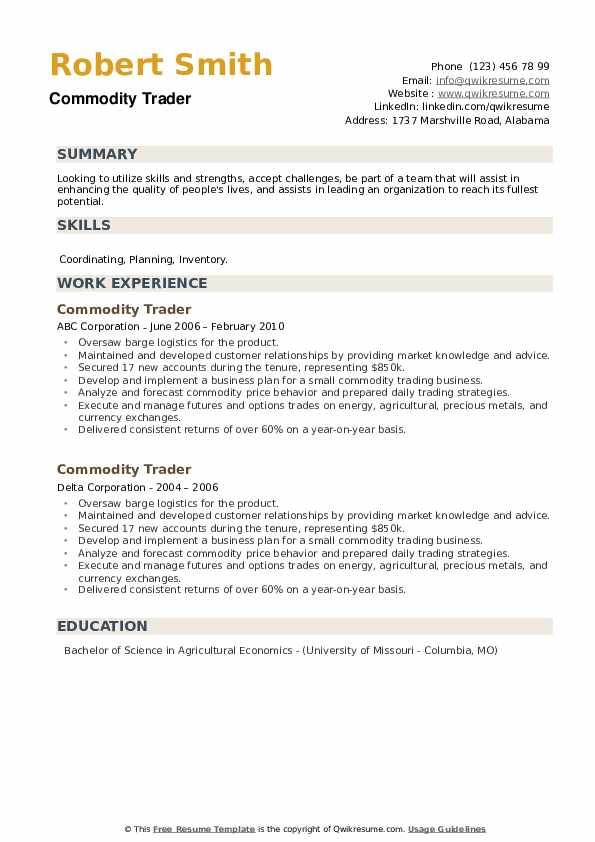 Commodity Trader Resume example