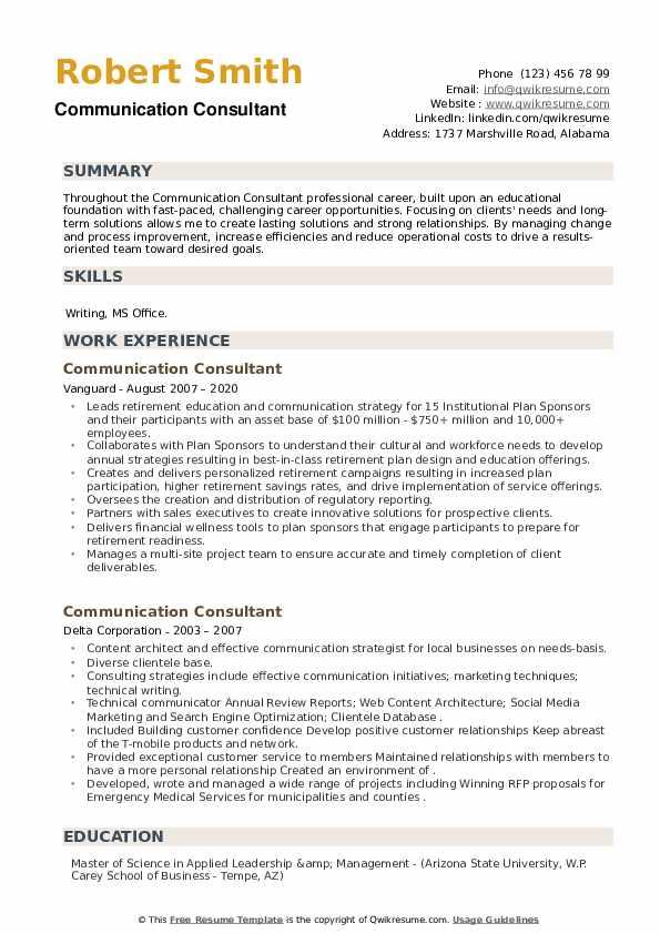 Communication Consultant Resume example