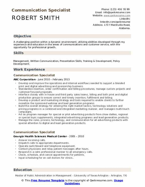 Communication Specialist Resume Format