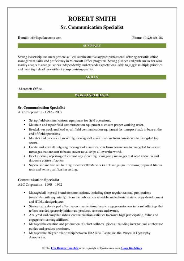 Sr. Communication Specialist Resume Template