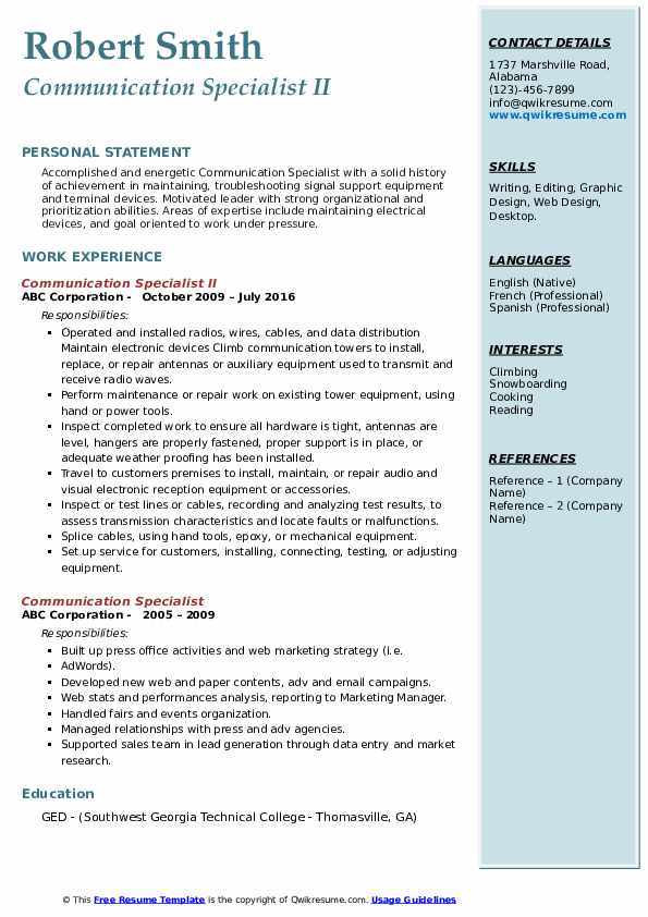 Communication Specialist II Resume Format