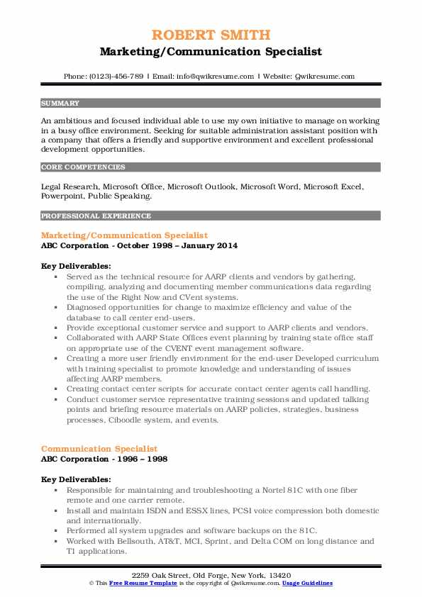 Marketing/Communication Specialist Resume Example