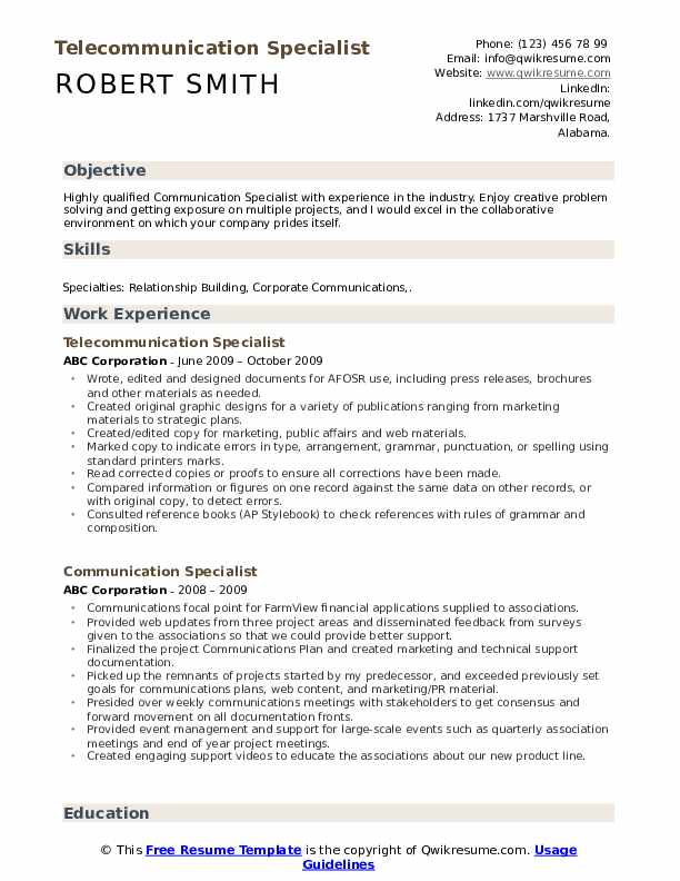 Telecommunication Specialist Resume Sample
