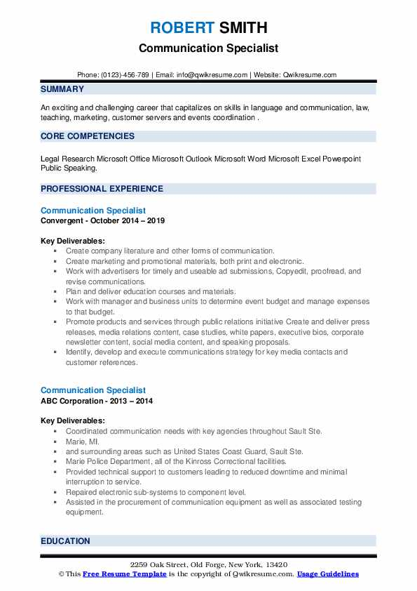 Communication Specialist Resume example
