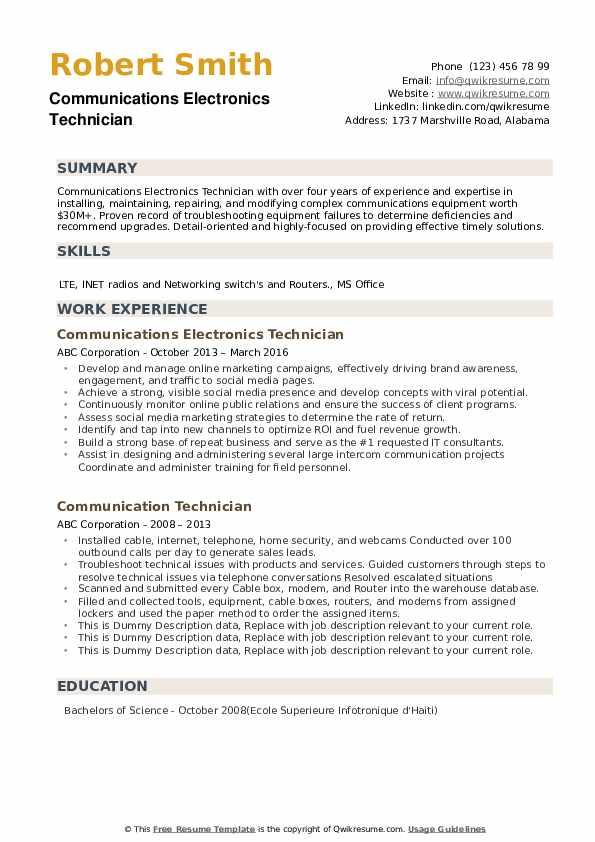 communication technician resume samples  qwikresume