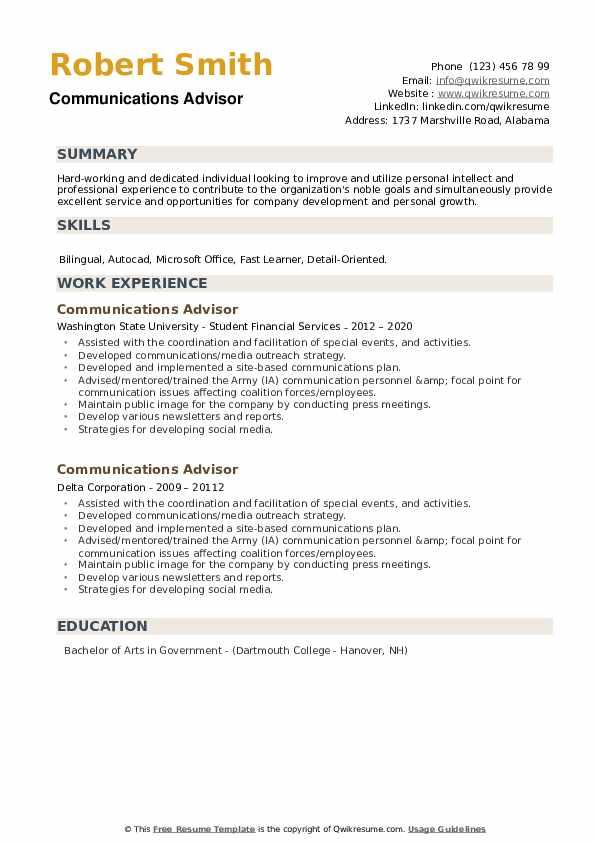 Communications Advisor Resume example