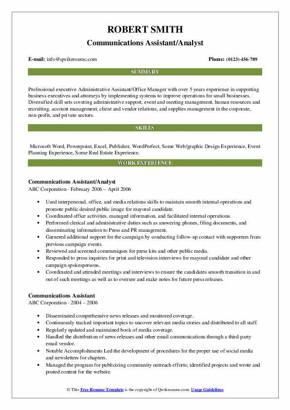 Communications Assistant/Analyst Resume Format