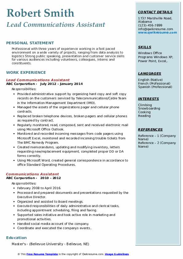 Lead Communications Assistant Resume Format