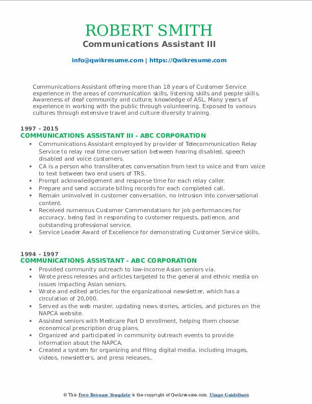 Communications Assistant III Resume Sample