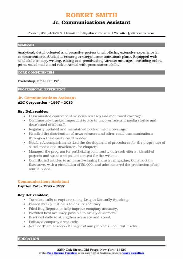 Jr. Communications Assistant Resume Example