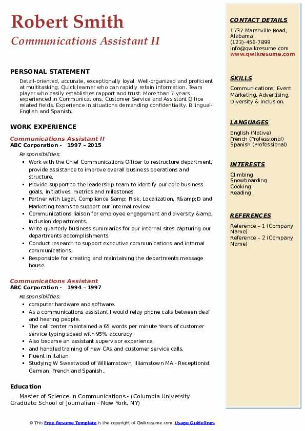 Communications Assistant II Resume Format