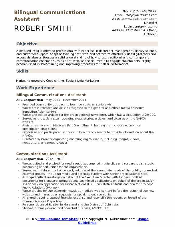 Bilingual Communications Assistant Resume Format
