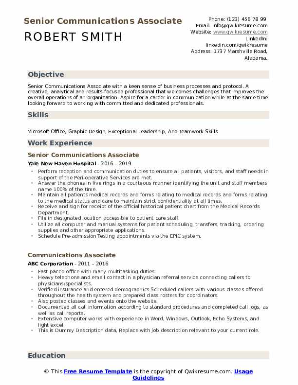 communications associate resume samples  qwikresume