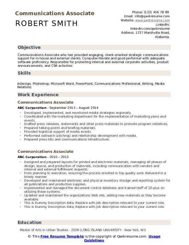 Communications Associate Resume example