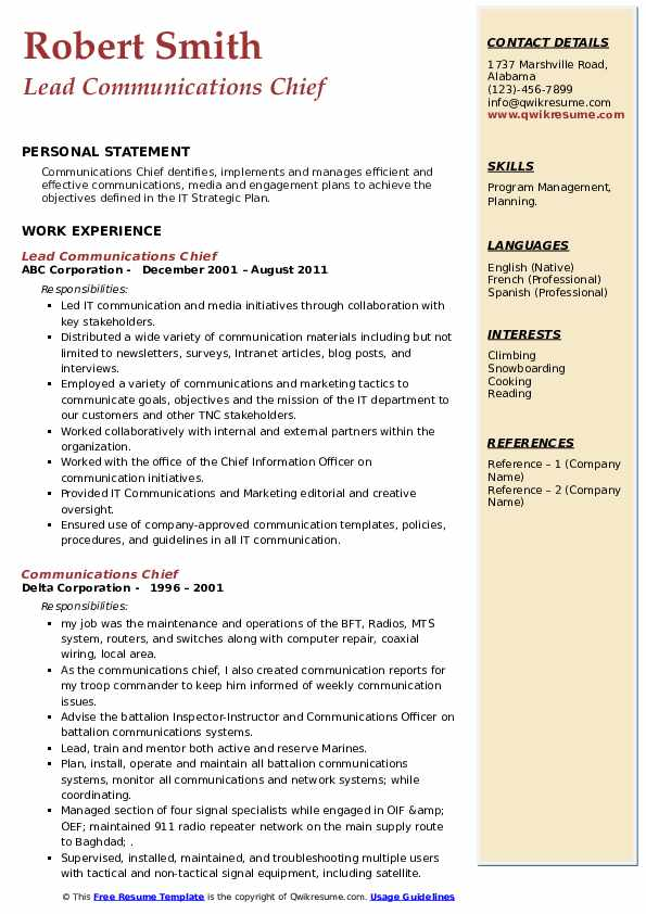 Communications Chief Resume example