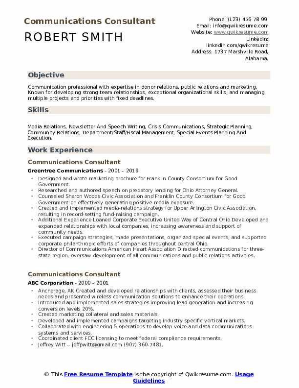 Communications Consultant Resume Template