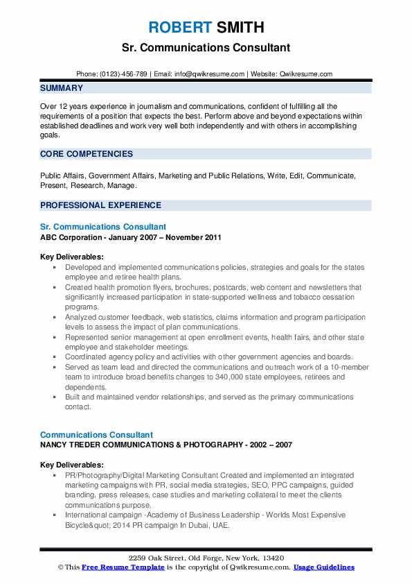 Sr. Communications Consultant Resume Format