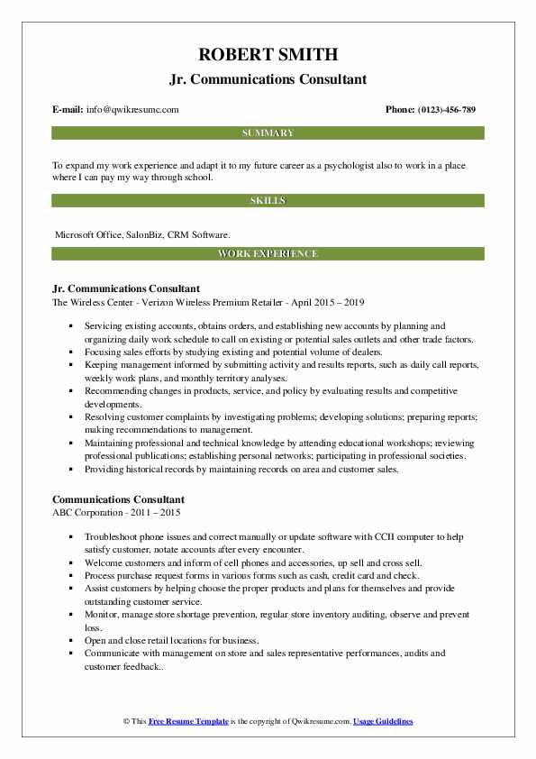 Jr. Communications Consultant Resume Sample