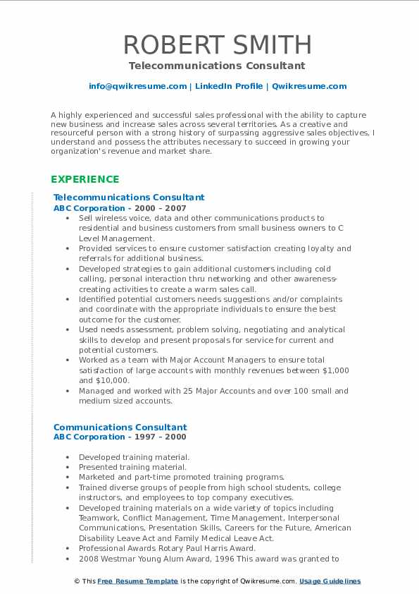 Telecommunications Consultant Resume Model