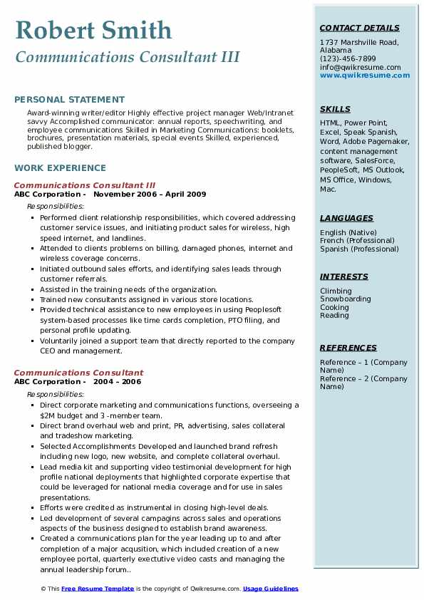 Communications Consultant III Resume Format