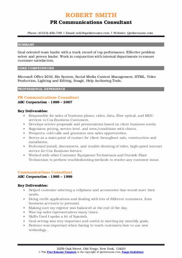 PR Communications Consultant Resume Template
