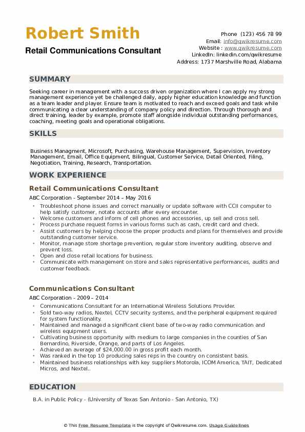 Retail Communications Consultant Resume Format