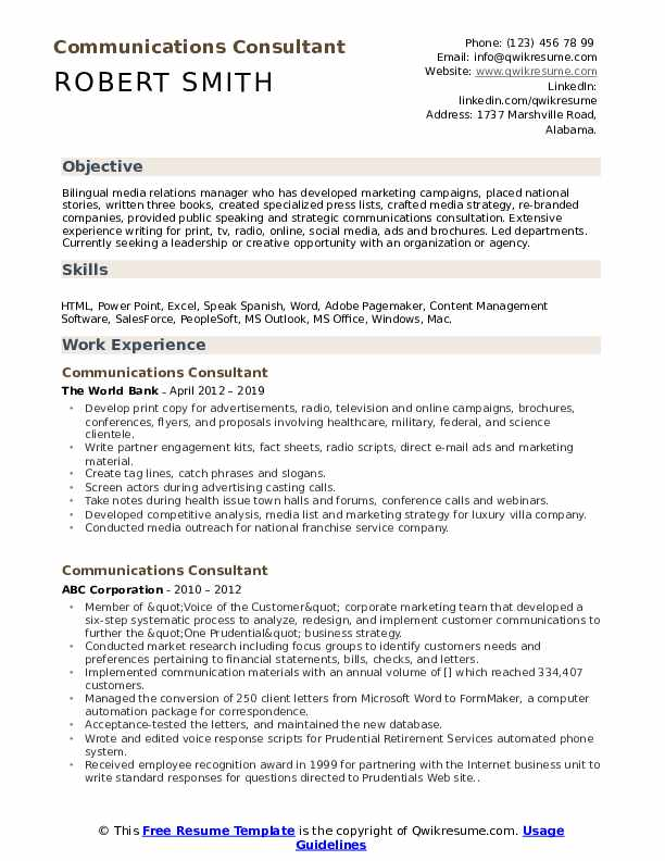 Communications Consultant Resume example