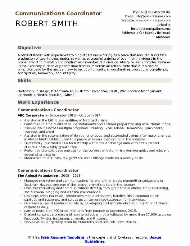 Communications Coordinator Resume Model