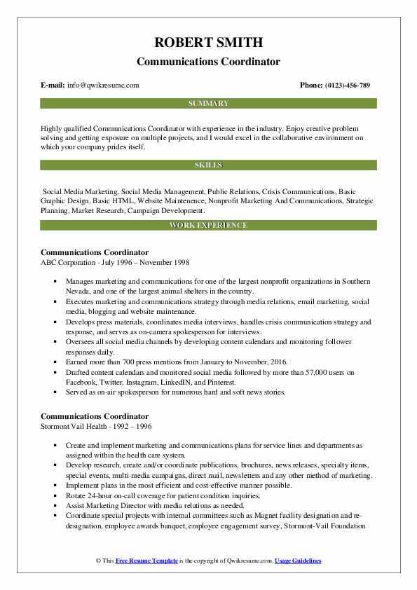 Communications Coordinator Resume Template