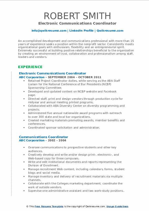 Electronic Communications Coordinator Resume Model