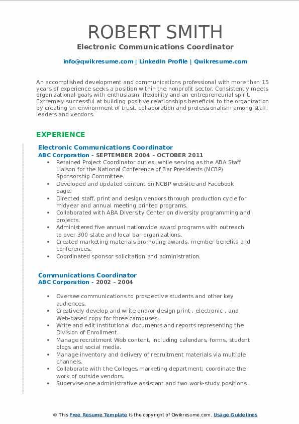 Electronic Communications Coordinator Resume Format