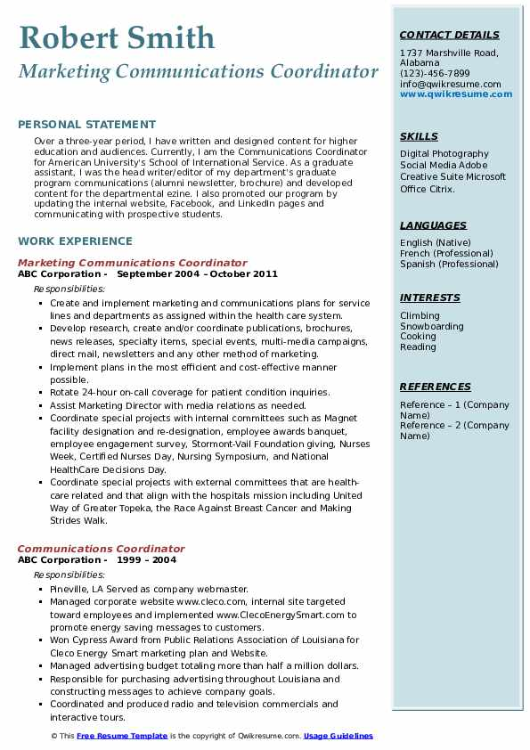 Marketing Communications Coordinator Resume Format