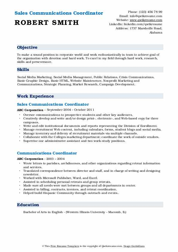 Sales Communications Coordinator Resume Example